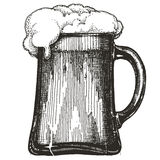 Modello di progettazione di logo di vettore della tazza di birra Birra alla spina Immagini Stock