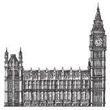 Modello di progettazione di logo di vettore di Big Ben Londra o Fotografia Stock