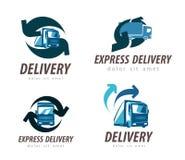 Modello di progettazione di logo di vettore di consegna camion o automobile illustrazione vettoriale