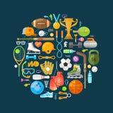 Modello di progettazione di logo di vettore di sport fisico illustrazione di stock