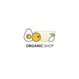 Modello di progettazione di logo nella linea stile dell'icona per i prodotti biologici - simboli di frutti Fotografie Stock Libere da Diritti