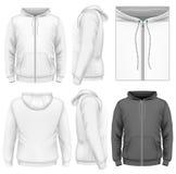 Modello di progettazione di maglia con cappuccio dello zip degli uomini Immagini Stock