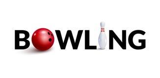 Modello di progettazione di parola 3d di bowling Concetto del birillo e della ciotola 3d Fotografia Stock