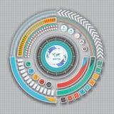 Modello di progettazione di tecnologia di Infographic sui precedenti grigi Fotografia Stock Libera da Diritti
