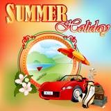 Modello di progettazione di vacanza estiva; Paesaggio di collegamenti di golf nel medaglione Fotografia Stock Libera da Diritti