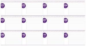 Modello di progettazione di vettore del calendario della tavola di anno 2017 Fotografie Stock Libere da Diritti