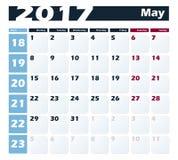 Modello di progettazione di vettore di maggio del calendario 2017 Inizio di settimana con lunedì Versione europea Immagini Stock Libere da Diritti