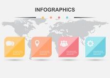 Modello di progettazione di Infographic con gli elementi quadrati royalty illustrazione gratis