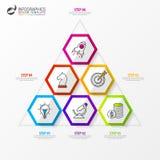 Modello di progettazione di Infographic Concetto di affari con la piramide Immagine Stock