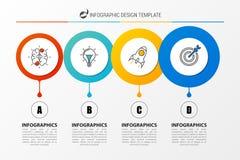 Modello di progettazione di Infographic Concetto di affari con 4 punti Fotografia Stock
