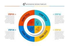 Modello di progettazione di Infographic Concetto di affari con punto 4 Fotografie Stock
