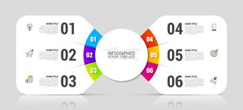 Modello di progettazione di Infographic Concetto creativo con 6 punti illustrazione vettoriale