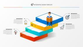 Modello di progettazione di Infographic Concetto creativo con 4 punti illustrazione vettoriale