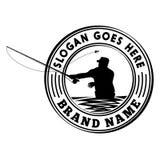 Modello di progettazione di logo di torneo della pesca con la mosca Modello di progettazione dell'illustrazione e di vettore royalty illustrazione gratis