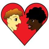 Modello di progettazione di logo un'icona delle coppie sui precedenti del cuore royalty illustrazione gratis