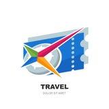 Modello di progettazione di logo di vettore con il simbolo multicolore astratto della bussola ed il biglietto blu illustrazione di stock