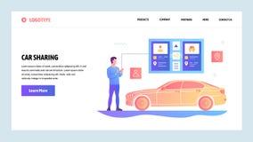 Modello di progettazione di pendenza del sito Web di vettore App del taxi e di car sharing Concetti d'atterraggio della pagina pe illustrazione vettoriale