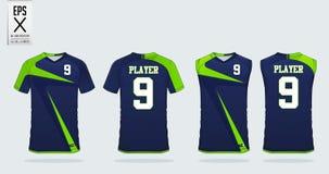 Modello di progettazione di sport della maglietta per il jersey di calcio, il corredo di calcio e la canottiera sportiva per il j royalty illustrazione gratis