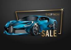 Modello di progettazione di vendita dell'automobile modello della disposizione, automobili da vendere l'opuscolo di affitto, alet illustrazione vettoriale