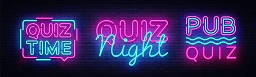 Modello di progettazione di vettore del manifesto di annuncio della raccolta di notte di quiz Insegna al neon di notte di quiz, i illustrazione vettoriale