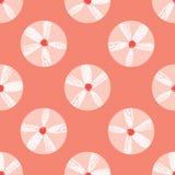 Modello di ripetizione di Coral Flowers Polka Dots Seamless di vettore E royalty illustrazione gratis