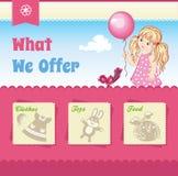 Modello di rosa del fumetto del bambino Fotografie Stock Libere da Diritti