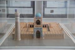 Modello di scala di Kalyan Mosque di Buchara in Art Musium islamico fotografia stock