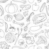 Modello di scarabocchio delle verdure Fotografie Stock Libere da Diritti