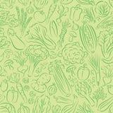 Modello di scarabocchio delle verdure nel verde Immagini Stock Libere da Diritti