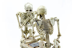 Modello di scheletro dei controllori su fondo bianco Fotografia Stock