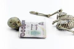 Modello di scheletro della Tailandia dei soldi su fondo bianco Fotografia Stock Libera da Diritti