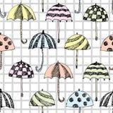 Modello di schizzo dell'ombrello quadrato Immagine Stock Libera da Diritti