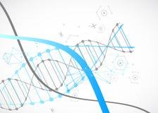 Modello di scienza, carta da parati blu o insegna con le molecole di un DNA illustrazione di stock
