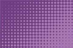 Modello di semitono monocromatico astratto Fondo comico Contesto punteggiato con i cerchi, punti, punto Porpora, colore lilla royalty illustrazione gratis