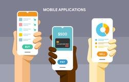Modello di Smartphone in mano umana Acquisto, pagamento mobile del portafoglio ed applicazione di finanza Illustrazione piana di  royalty illustrazione gratis