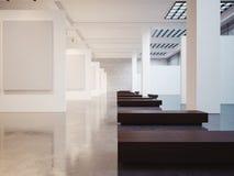 Modello di stanza vuota nel musem 3d rendono Immagine Stock