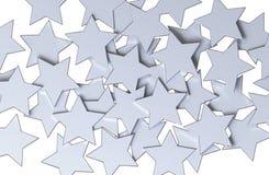 Modello di stelle d'argento isolato su fondo bianco Fotografia Stock Libera da Diritti