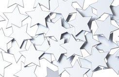 Modello di stelle d'argento isolato su fondo bianco rappresentazione 3d Fotografie Stock