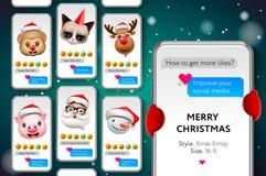 Modello di storie di Buon Natale con I fronti sorridente di natale Emojis, scorrenti, vector l'illustrazione royalty illustrazione gratis