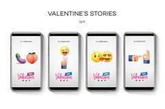 Modello di storie di San Valentino streaming Insieme editabile universale creativo nello stile d'avanguardia con i fronti sorride illustrazione vettoriale