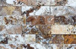 Modello di struttura e del fondo decorativi di pietra di marmo del muro di mattoni Fotografia Stock