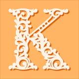 Modello di taglio del laser Lettere iniziali del monogramma Lettera floreale operata di alfabeto illustrazione vettoriale