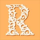 Modello di taglio del laser Lettere iniziali del monogramma Lettera floreale operata di alfabeto illustrazione di stock