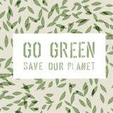 Modello di tema di ecologia va il verde Immagini Stock