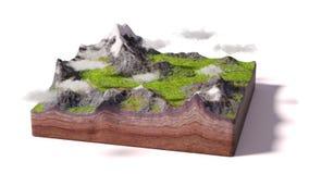 Modello di una sezione trasversale di terra con le montagne, i prati e le nuvole isolati su fondo bianco Fotografia Stock