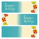 Modello di vacanza estiva della spiaggia per l'aletta di filatoio Fotografia Stock