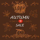 Modello di vendita di autunno, insegna, illustrazione di vettore Fotografia Stock Libera da Diritti