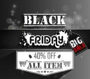 Modello di vendita di Black Friday con l'autoadesivo sul fondo del bokeh Fotografie Stock