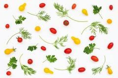 Modello di verdure dei pomodori, prezzemolo, aneto su bianco Immagine Stock