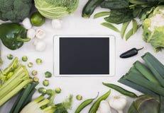 Modello di verdure del pc della compressa Fotografie Stock Libere da Diritti